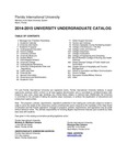 Undergraduate course catalog (Florida International University). [2014-2015] by Florida International University