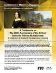 A Conference on The 200th Anniversary of the Birth of Gertrud is Gómez de Avellaneda: A Celebration of Nineteenth-Century Cuban Literature