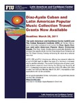 Diaz-Ayala Cuban and Latin American Popular Music Collection Travel Grants Now Available