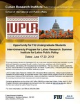 Opportunity for FIU Undergraduate Students Inter-University Program for Latino Research: Summer Institute for Latino Public Policy