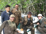 Left to right: Arturo Saldivar, Justin Baker, Edward Castaneda, Dan Bond. Break after setting ingrowth root cores inside the mangrove forest, Shark River Slough