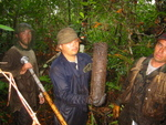 Left to right: Justin Baker, Arturo Saldivar, Edward Castaneda. Pulling core to determine standing crop (fine root biomass) in mangrove forest at SRS-4, Shark River Slough