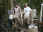 Valentin Nechita (left) and Rafael Travieso (right) with a Burmese python at SRS-6, Shark River Slough by Unknown