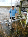 Dr. Price measuring surface water flow at SRS-1