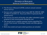 Division of Research Annual Customer Survey by Division of Research, Florida International University